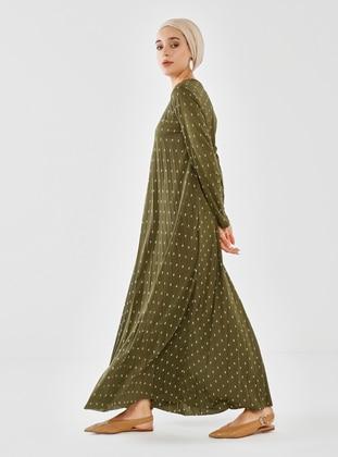 - Polka Dot - Crew neck - Modest Dress
