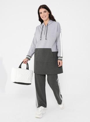 Gray - Plus Size Tracksuit Sets
