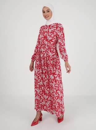 Red - Floral - Crew neck - Unlined - Viscose - Modest Dress
