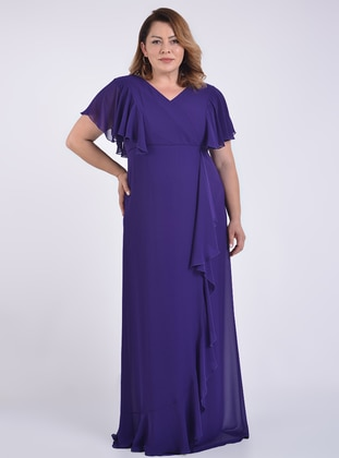 Purple - Fully Lined - Double-Breasted - Modest Evening Dress