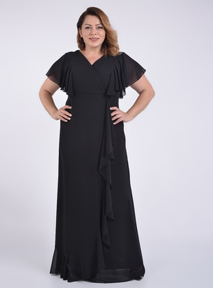 Black - Fully Lined - Double-Breasted - Modest Evening Dress