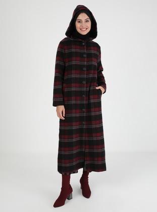 Maroon - Black - Multi - Unlined - Coat