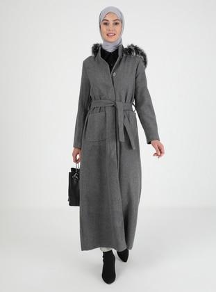 Gray - Unlined - Acrylic - Cotton - Coat