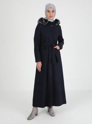 Navy Blue - Unlined - Acrylic - Cotton - Coat