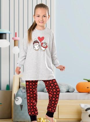Multi - Crew neck - Unlined - Girls` Pyjamas