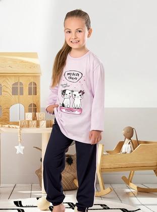 Multi - Crew neck - Unlined - Lilac - Girls` Pyjamas