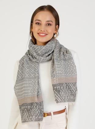 Gray - Printed - Viscose - Shawl