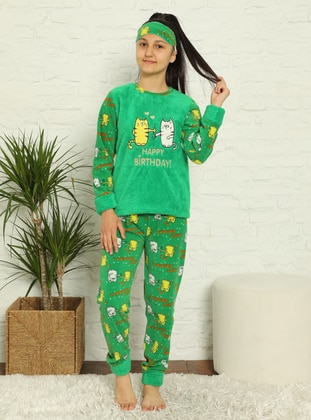 Multi - Crew neck - Unlined - Green - Girls` Pyjamas