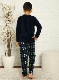 Multi - Crew neck - Unlined - Navy Blue - Boys` Pyjamas