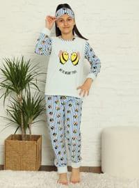 Multi - Crew neck - Unlined - Ice Blue - Girls` Pyjamas