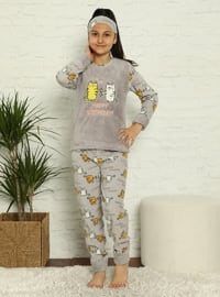 Multi - Crew neck - Unlined - Gray - Girls` Pyjamas
