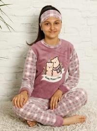 Multi - Crew neck - Unlined - Dusty Rose - Girls` Pyjamas