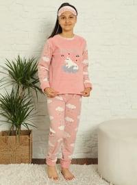 Multi - Crew neck - Unlined - Pink - Girls` Pyjamas