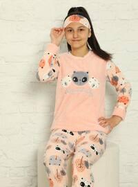 Multi - Crew neck - Unlined - Salmon - Girls` Pyjamas