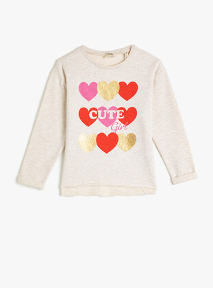 White - Girls` Sweatshirt - Koton