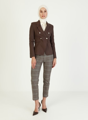 Brown - Fully Lined - Point Collar - Jacket