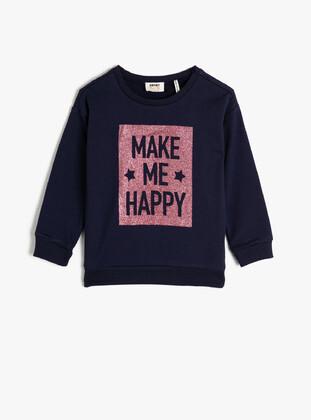 Navy Blue - Girls` Sweatshirt - Koton