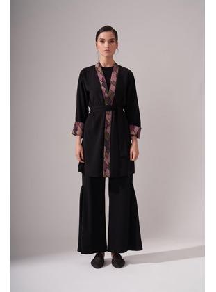 Black - Crew neck - Kimono