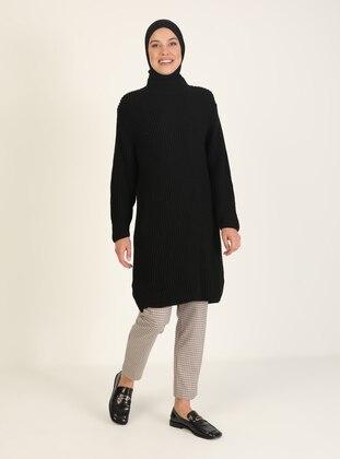 Black - Polo neck - Triko - Tunic
