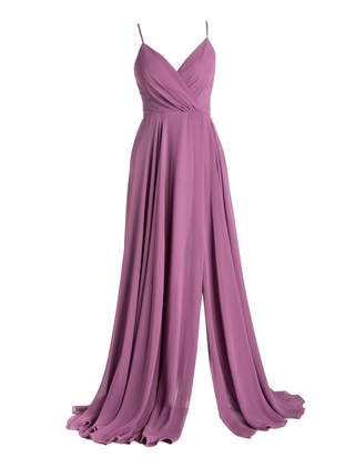 Lilac - Fully Lined - V neck Collar - Modest Plus Size Evening Dress