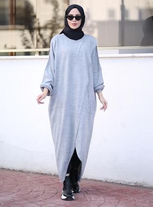 Gray - Crew neck - Knit Tunics