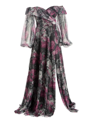 Purple - Multi - Fully Lined - Modest Evening Dress