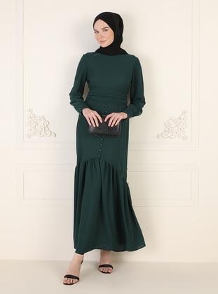Emerald - Unlined - Crew neck - Modest Evening Dress