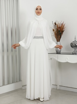 White - Fully Lined - Crew neck - Modest Evening Dress
