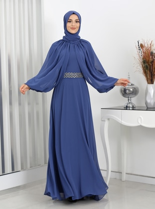 Petrol - Fully Lined - Crew neck - Modest Evening Dress
