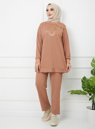 Camel - Unlined - Cotton - Crew neck - Suit