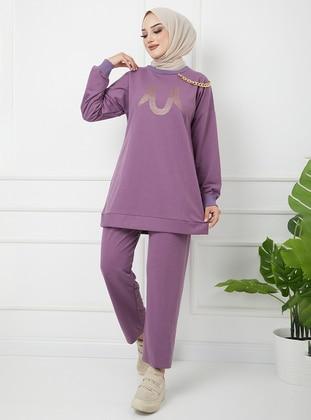 Lilac - Unlined - Cotton - Crew neck - Suit