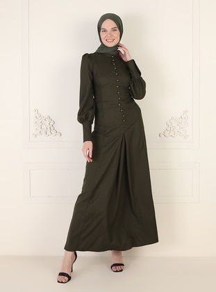 - Unlined - Crew neck - Modest Evening Dress