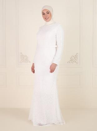 White - Fully Lined - V neck Collar - Modest Plus Size Evening Dress