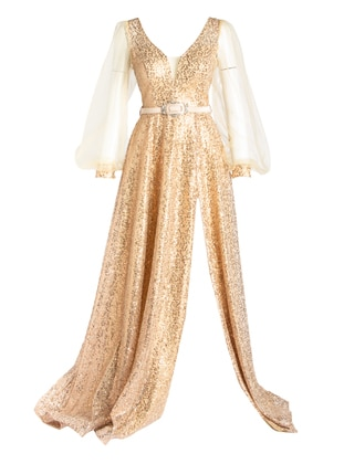 Gold - Multi - Fully Lined - Double-Breasted - Modest Evening Dress
