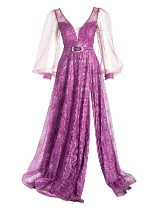 Purple - Multi - Fully Lined - Double-Breasted - Modest Evening Dress