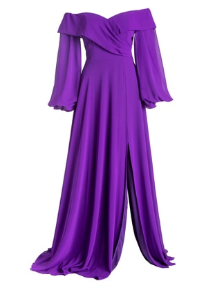 Purple - Fully Lined - Modest Evening Dress