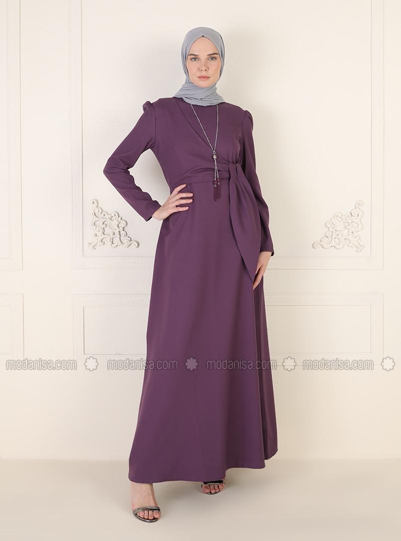 Lilac - Unlined - Crew neck - Modest Evening Dress