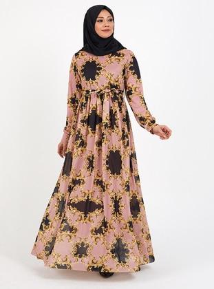 Powder - Multi - Crew neck - Fully Lined - - Modest Dress
