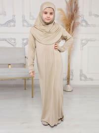 Beige - Girls Prayer Dress