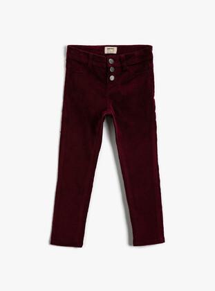 Maroon - Girls` Pants - Koton