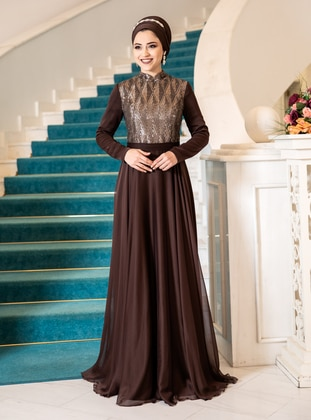 Brown - Fully Lined - Modest Evening Dress