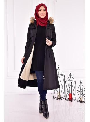 Black - Coat - Moda Merve