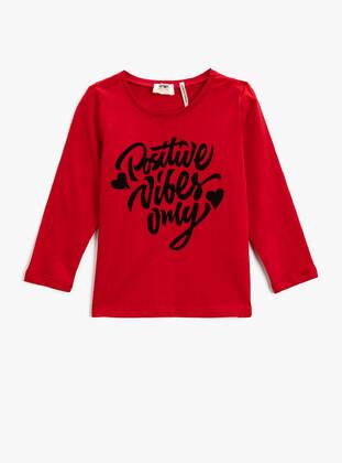 Red - Girls` T-Shirt - Koton