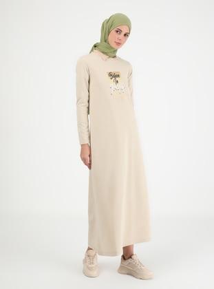 Beige - Crew neck - Unlined - Cotton - Modest Dress