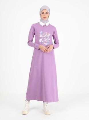 Lilac - Crew neck - Unlined - Cotton - Modest Dress
