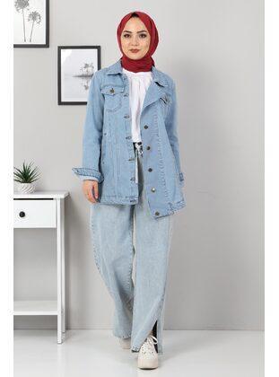 Ice Blue - Point Collar - Denim - Jacket