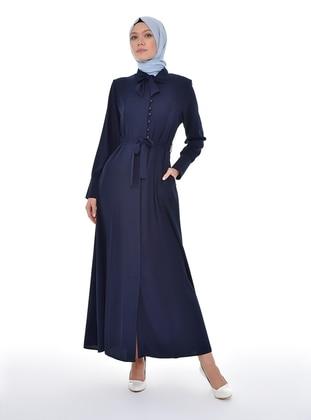 Navy Blue - Unlined - Point Collar - Abaya