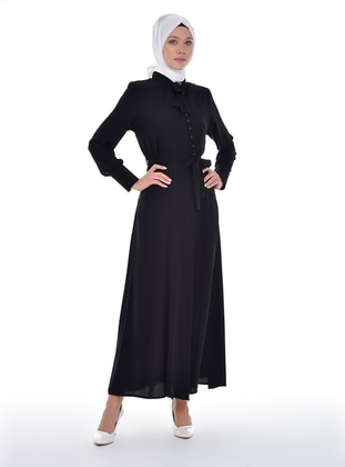 Black - Unlined - Point Collar - Abaya