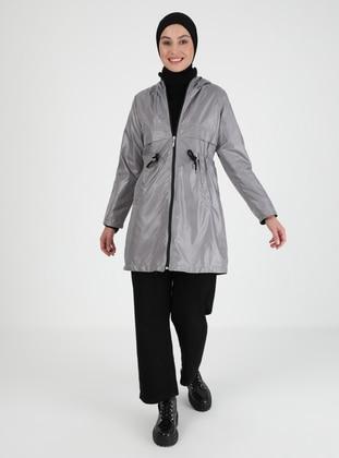 Gray - Fully Lined - Trench Coat