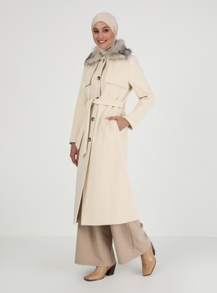 Ecru - Fully Lined - V neck Collar - Coat